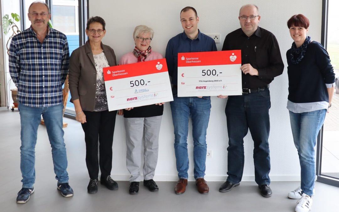 narz systems spendet zu Weihnachten 1000 Euro an Hospizdienst und Tischtennisverein